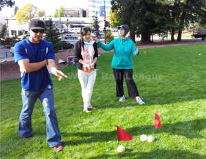 Players were discussing which balls to rescue. It could be a tough call if your balls got too many red flags.... Berkeley on 10/7/2012.